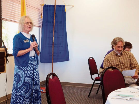 Lucy Whitmarsh, executive director of Silver City Main Street Project, discusses this weekend's Taste of Downtown and the Silco Theater on Thursday at the Silver City/Grant County Chamber of Commerce meeting. Randal Seyler - Sun-News