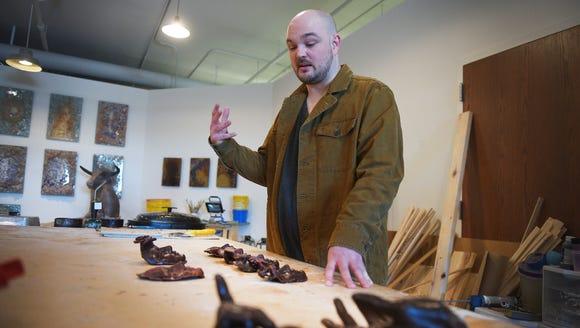 Cameron Stalheim talks about his art Monday, Feb. 26,