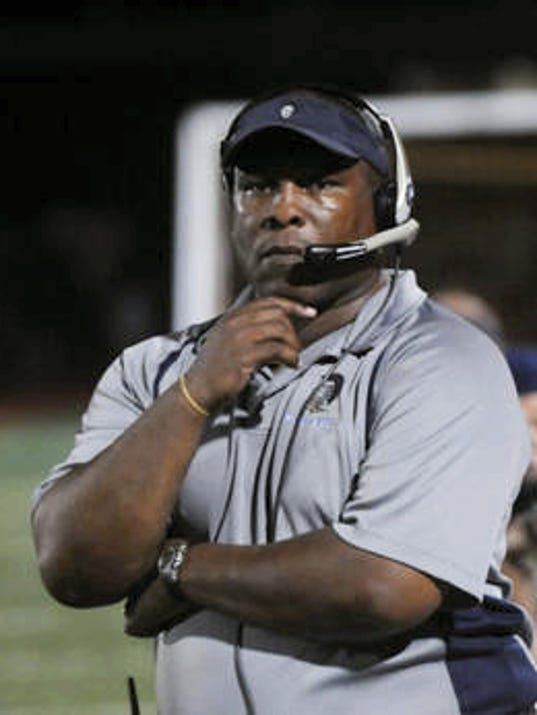 Chambersburg coach Mark Saunders coaches in a win against Greencastle on Friday, August 31, 2012. (Public Opinion/Ryan Blackwell)