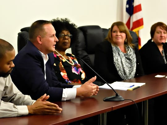 York City Council candidates, from left, Roderick Artis, Ben McGlaughlin, Judy Ritter-Dickson, Anne Clark and Amy Chamberlin answer questions during a special council meeting held to publicly interview candidates for the open seat at City Hall on Monday, Nov. 21, 2016. Dawn J. Sagert photo