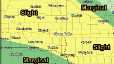 Chance of severe weather in eastern South Dakota on Tuesday night.