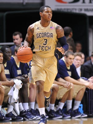 Georgia Tech forward Marcus Georges-Hunt dribbles the ball against Miami during the second half at BankUnited Center.