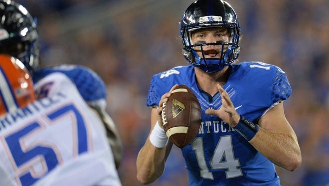 UK QB Patrick Towles during the first half of the University of Kentucky - Florida football game at Commonwealth Stadium in Lexington, Ky., on Saturday, September 19, 2015.