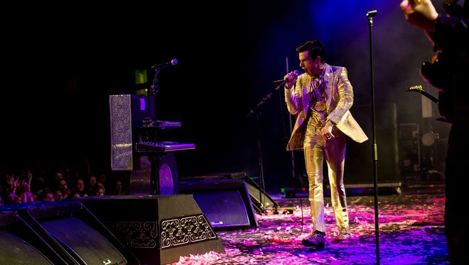 Brandon Flowers performs with the Killers Friday night at Ruoff Home Mortgage Music Center.