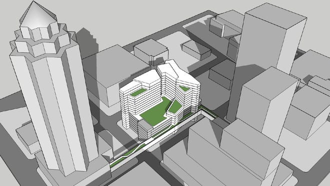 Des Moines-based Nelson Development & Construction proposed a $35 million, 10-story luxury apartment complex with 150 units in the first phase and 112 units in an optional second phase.