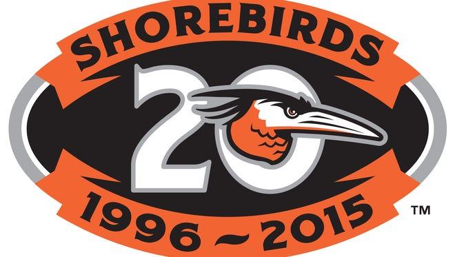 Delmarva Shorebirds 20th anniversary logo