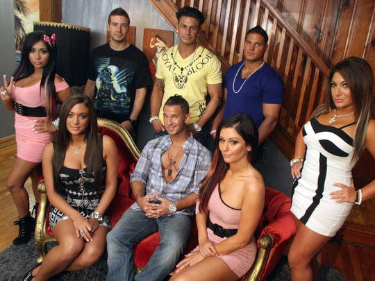 "Cast members of MTV's ""Jersey Shore"" get together for a photo Thursday at their house in Seaside Heights during a media availability in 2011."