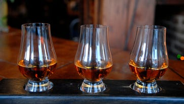 A bourbon flight at Bourbons Bistro, one of the five original restaurants involved in the Urban Bourbon Trail.  Bourbons features over 130 different kinds of bourbon.  Feb. 04, 2016