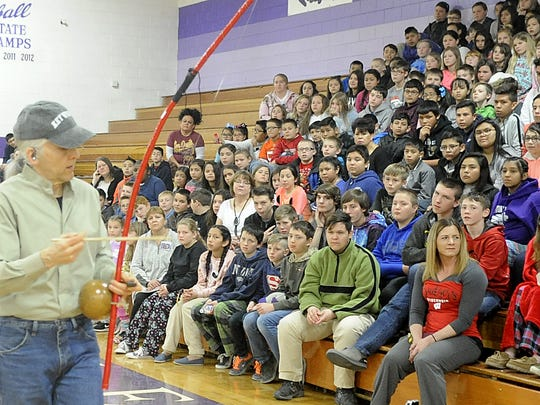 Todd Green performs for Yerington Intermediate School students.