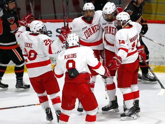 Cornell celebrates a first-period goal Friday night