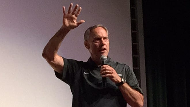 MSU coach Mark Dantonio speaking to campers at the Sound Mind Sound Body camp at Macomb Dakota on June 12, 2015