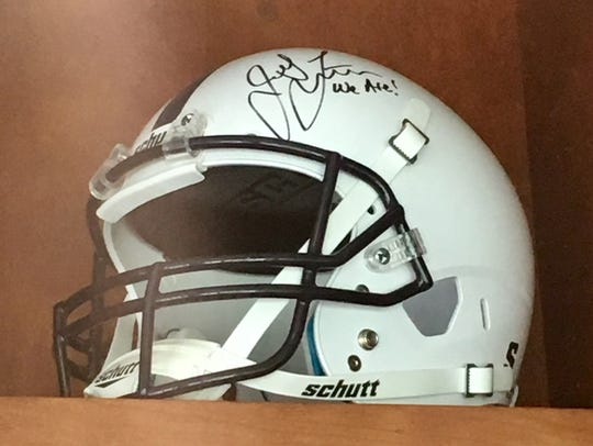 James Franklin autographed Penn State helmet in Vanderbilt