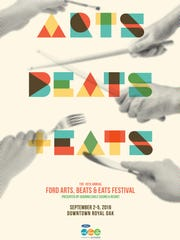 Poster for the 19th Annual Ford Arts, Beats and Eats Festival on September 2-5, 2016 in downtown Royal Oak.