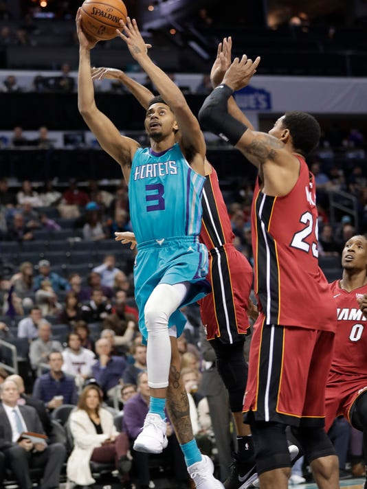 Charlotte Hornets' Jeremy Lamb (3) drives past Miami Heat's Jordan Mickey (25) during the first half of an NBA basketball game in Charlotte, N.C., Friday, Dec. 15, 2017. (AP Photo/Chuck Burton)