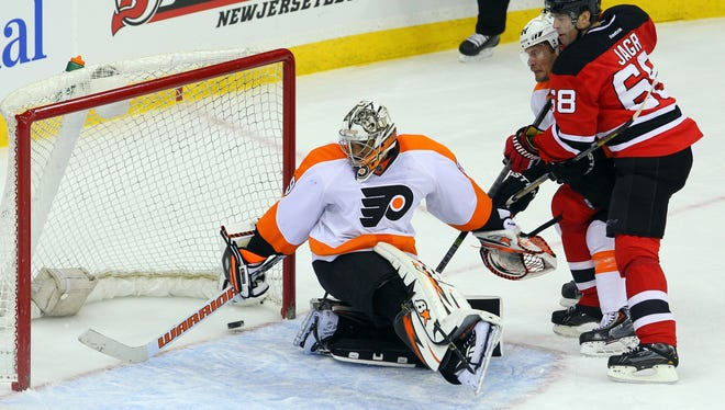 Ray Emery has won five of his last six games against the New Jersey Devils.
