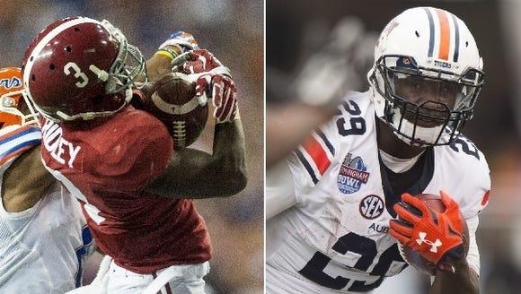 Alabama's Calvin Ridley and Auburn's Jovon Robinson