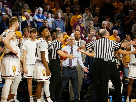 Arizona State Sun Devils head coach Bobby Hurley argues a call with the referee during a game against Stanford at the Wells Fargo Arena in Tempe on March 3, 2018.