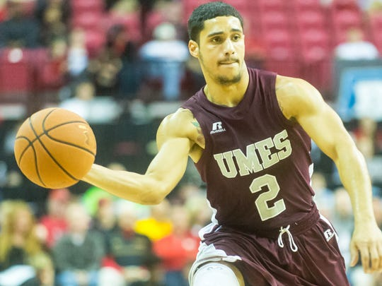 UMES guard Thomas Rivera (2) works up court against