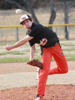 Viola's Will Wilson delivers a pitch against Concord on Thursday at Viola City Park.