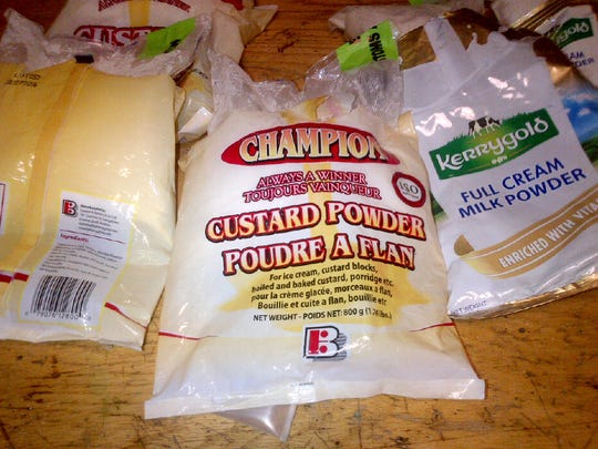 Packages of custard powder contained cocaine instead of custard or milk powder, the Customs and Border Patrol found, tipped off by an alert canine.