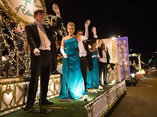 Members of the Royal Court of Edisonia greet parade goers on during the 2018 Edison Festival of Light Parade in Fort Myers