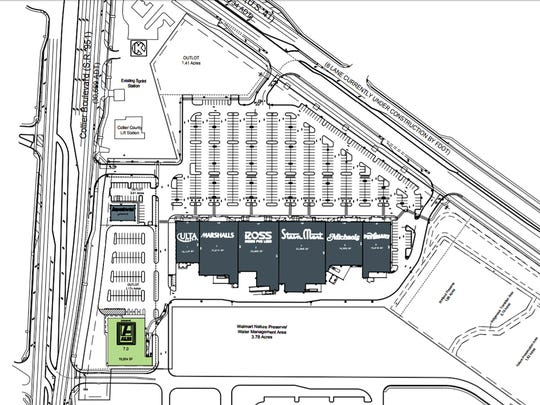 Aldi grocery store will be built on a lot, bottom left, at the Collier Boulevard entrance to Tamiami Crossing retail center on U.S. 41 East. Another outparcel is available near Circle K, top left.