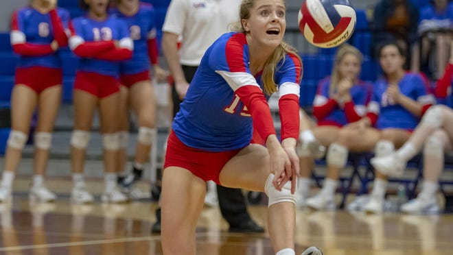 Westlake's Katie Hashman, digging in against Smithson Valley, is among the top returning players in District 26-6A. She hopes to play beach volleyball and major in business economics at UCLA.