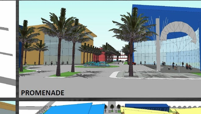 Preliminary designs show what the new arena and field house development would look like on the former ECUA sewage treatment site.