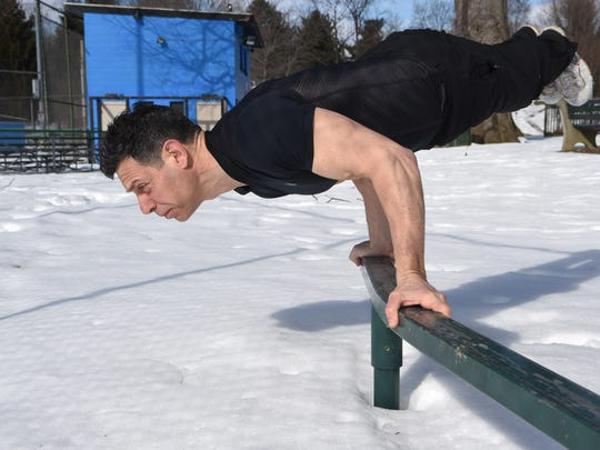 Michael Polito performs an elbow lever at Spratt Park