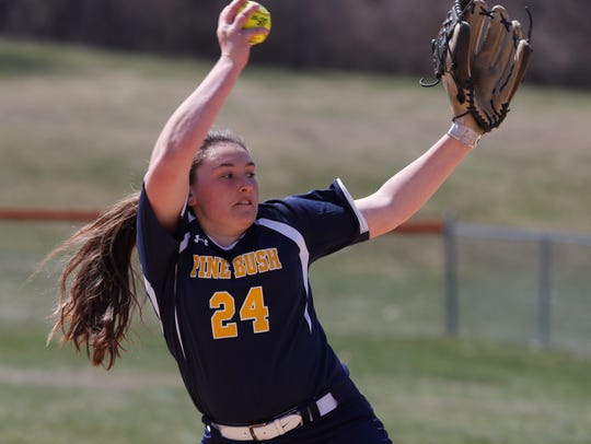 Pine Bush's Kayla Consolo pitches during Saturday's