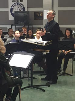 """The West York band practices its original arrangement """"Sunrise After the Mourning Moon"""""""