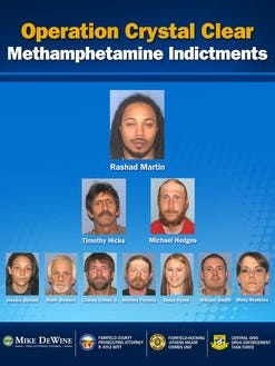 Ten people, including two Licking County residents, were arrested as part of a multi-county methamphetamine bust.