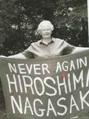 Sister Miriam Ward with a message about atomic bombs.