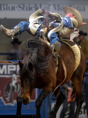 J.R. Vezain rides in the bareback event during the Montana Pro Rodeo Circuit Finals last January in the Four Seasons Arena.