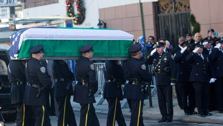 The casket of New York City police officer Rafael Ramos