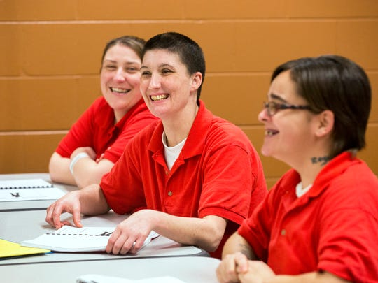 Amanda Willoughby, 29, (left) Misty Adams, 38, and Michelle Burns, 28 take part in a Behavior Chain class in the Chemical Dependency Program in the Campbell County Detention Center. The voluntary program includes counseling, group sessions, GED curriculum and AA classes.