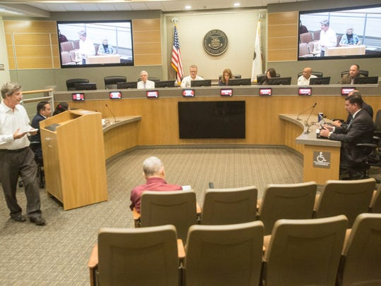 The Indio City Council listens to public comments at