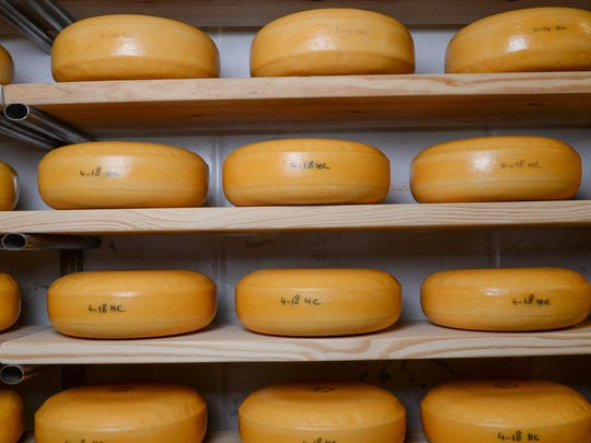 Blocks of  gouda cheese age at Forx Farm on Dobbins Bridge Road in Anderson on Monday.