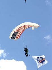 Before the first pitch two parachutist landed in the