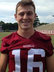Senior Landon Weeks starts at cornerback, kicker and punter for Pineville.