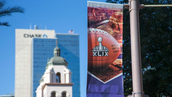 Downtown Phoenix gets ready for Super Bowl XLIX next week, will bring in fans and celebrity on Thursday Jan 22, 2015.