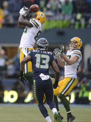 Brandon Bostick misses the ball while trying to recover an onside kick against the Seattle Seahawks during the NFC Championship game on Jan. 18.