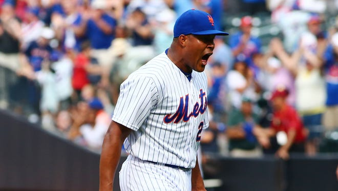 Mets closer Jeurys Familia exults after getting the final out of the game in a 6-5 win over the Red Sox.
