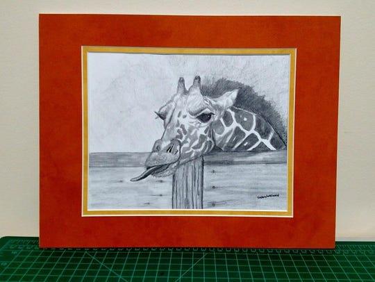A pencil sketch of a giraffe by Sarah Ninnemann.