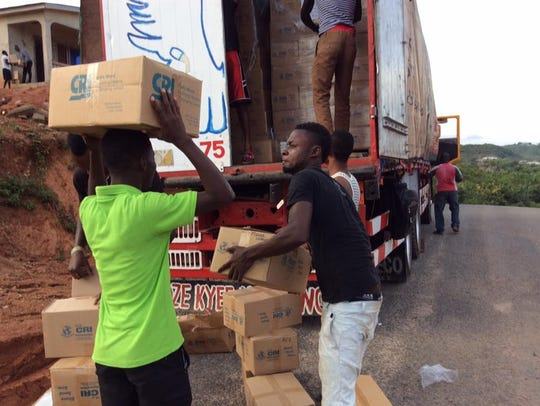 A shipment of used Bibles and Christian books donated