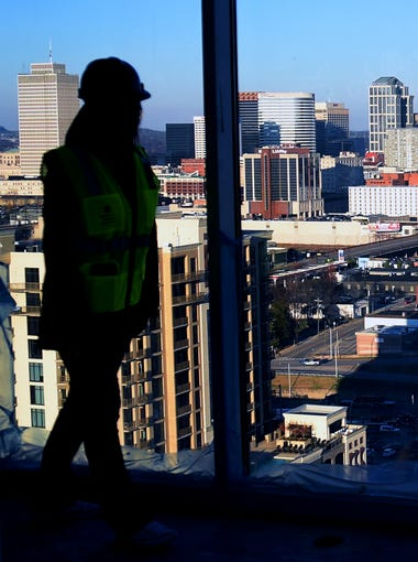 Chloe' Evans gives a tour of an penthouse under construction at Element Music Row high rise apartment building with views of downtown Nashville.  Element Music Rowhat is located on Demonbreun Street and will be completed in April 2016.