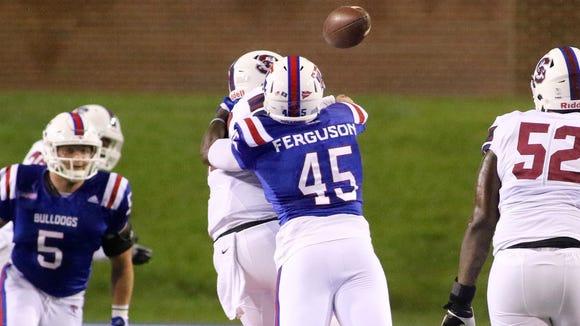 Louisiana Tech defensive end Jaylon Ferguson (45) sacks