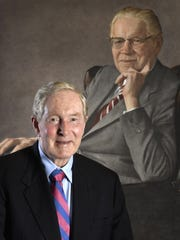 Dr. Thomas Frist Jr. founded HCA 50 years in 1968 with his father, Dr. Thomas F. Frist Sr., and Jack C. Massey. Frist Jr. poses with a painting of his father July 12, 2018.
