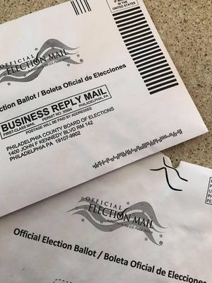 A mail-in ballot and return envelope issue by the Philadelphia County Board of Elections