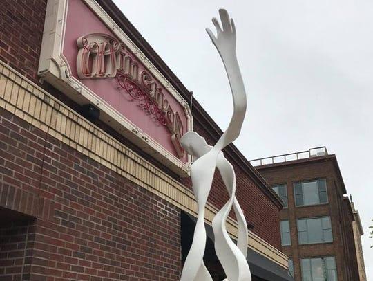White Step, a sculpture near Minervas that was vandalized